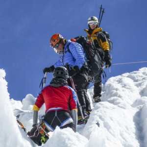 Expedition climbing managers to summit Cayambe vulcano